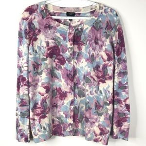 Talbots Cardigan Watercolor Floral Print Sweater